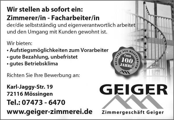 Geiger Zimmerei - Stellenangebote